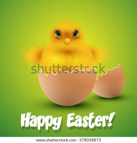 Chick hatching form an egg Easter card. Vector illustration. - stock vector