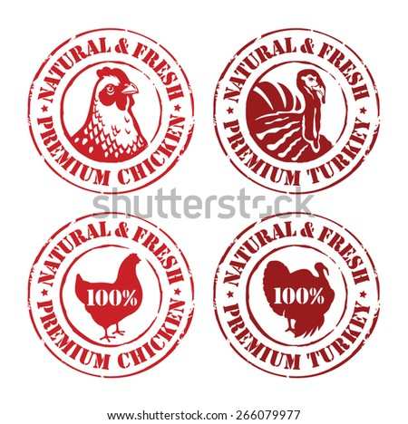 Chicken and turkey rubber stamps, labels, design elements - natural and fresh - stock vector