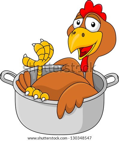 Chicken cartoon in the sauce pan - stock vector