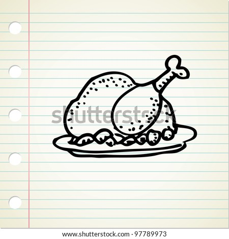 chicken doodle - stock vector