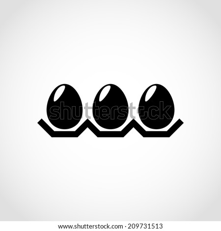 Chicken eggs in a tray Icon Isolated on White Background - stock vector