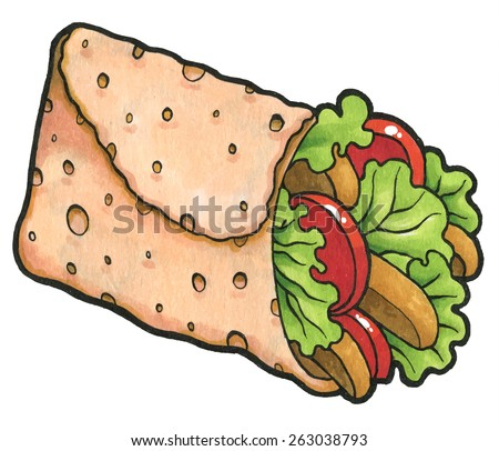 Chicken fajita wrap sandwich - rollup of flatbread with assorted fillings - stock vector