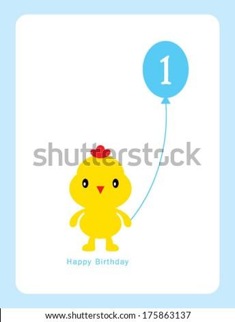 chicken first birthday card - stock vector
