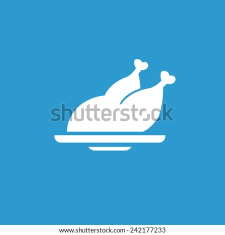 chicken icon, isolated, white on the blue background. Exclusive Symbols  - stock vector