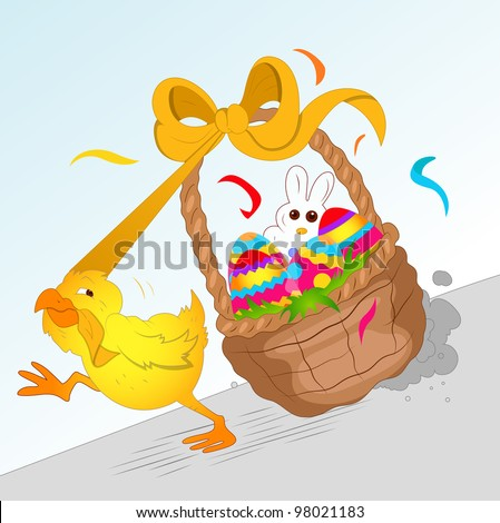 Chicken Running with Easter Basket - stock vector