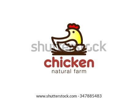Chicken sitting on Nest Logo design vector template. Eco Natural Farm Logotype concept icon. - stock vector