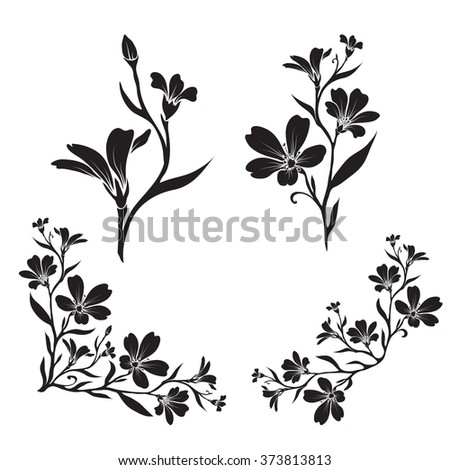 Wildflower Silhouette Stock Vectors & Vector Clip Art ...