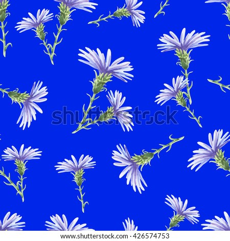 Chicory.Beautiful seamless pattern with delicate watercolor flowers on a blue background.Vector illustration.Can be used for gift wrapping paper,tissue,textiles. - stock vector