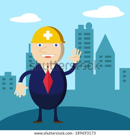Chief construction engineer man and a helmet - stock vector