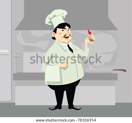 chief cook costs on kitchen costs with pepper in hand and smiles - stock vector