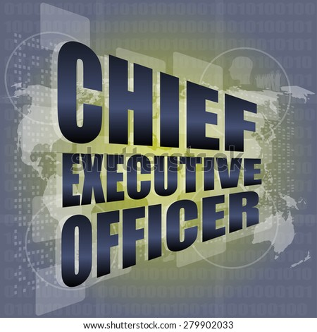 chief executive officer words on digital screen background with world map vector - stock vector