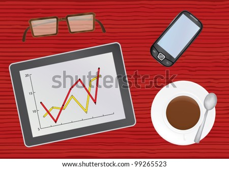 chief table with tablet pc vector illustration - stock vector