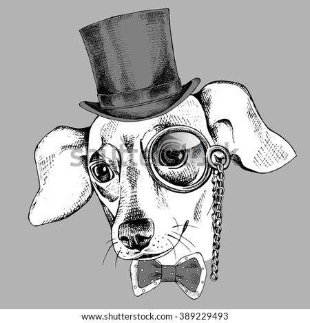 Chihuahua dog portrait  in a hat bowler and with monocle. Vector illustration. - stock vector