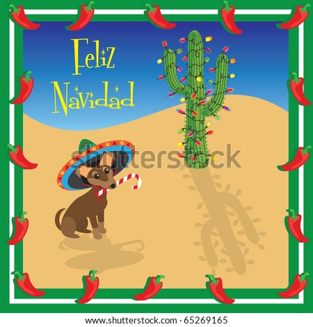 Chihuahua puppy wears a sombrero with a decorated christmas cactus - stock vector