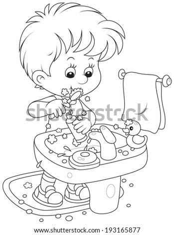 Child brushing his teeth - stock vector