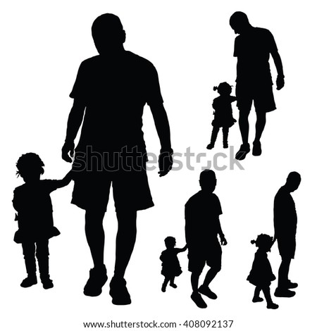 child cute with father illustration in black color - stock vector