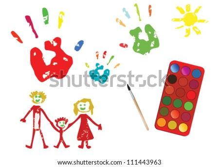 Child drawing. Happy family - stock vector