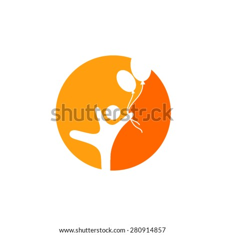 Child freedom and active lifestyle logo - stock vector