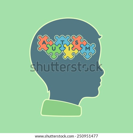 child head profile silhouette with jigsaw puzzle symbolizing autism spectrum disorders - stock vector