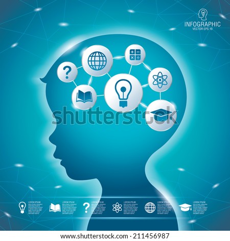 Child head with set of gears as a brain idea, With creative drawing business success strategy plan idea, Inspiration concept modern design template work flow layout, diagram, Vector illustration - stock vector