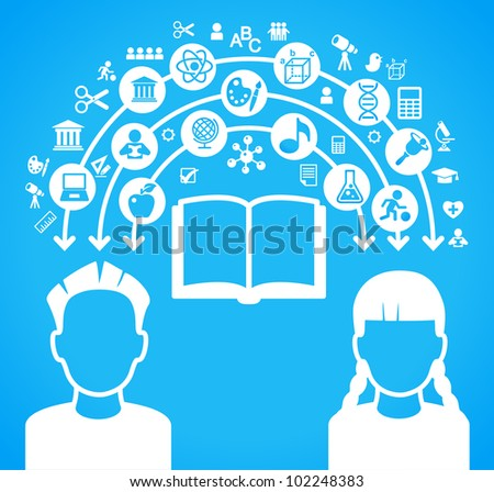 child heads with symbols. the concept of education. - stock vector