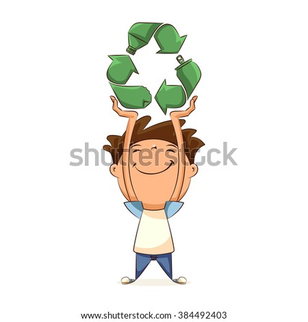 Child holding recycling symbol, concept, vector illustration - stock vector