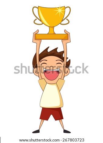 Child holding trophy, vector illustration - stock vector