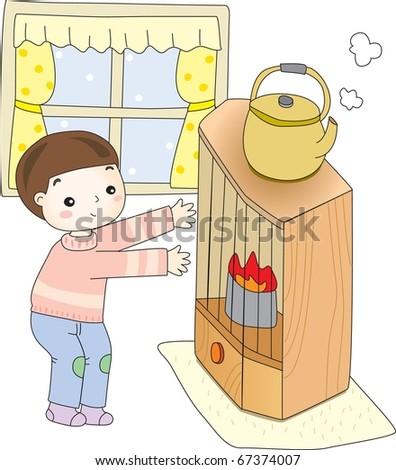 Child in WInter - stock vector