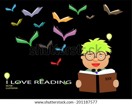 Child is reading books - stock vector