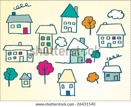 child like doodle houses illustration - stock vector