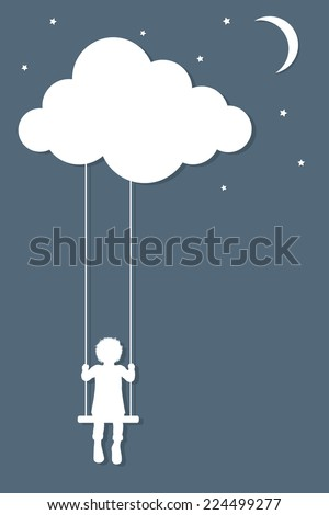 Child on swings hanging from cloud in paper cutout style - stock vector