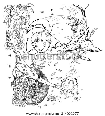 child on the tree and Ants Egg  - stock vector