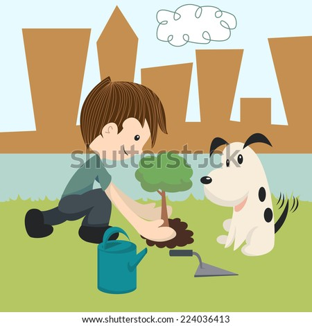 Child planting a tree, dog and kid environment friends, vector illustration - stock vector
