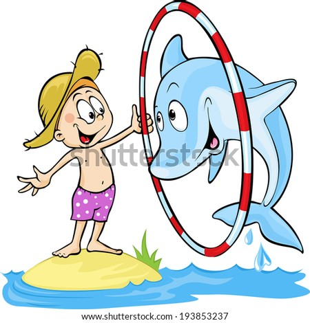 child playing with dolphin - cute vector illustration - dolphin jump  through the ring - stock vector