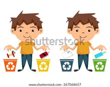 Child recycling, vector illustration, cartoon character - stock vector