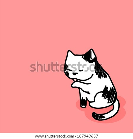 Child's drawing of a cat - stock vector