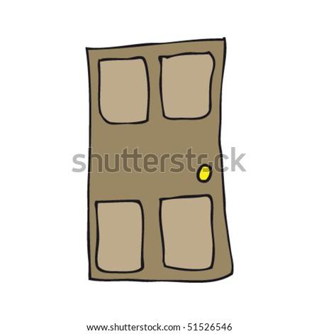 child's drawing of a door - stock vector