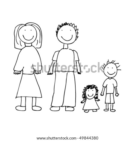 child's drawing of a family - stock vector