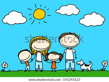 Child's drawing of a happy family - stock vector