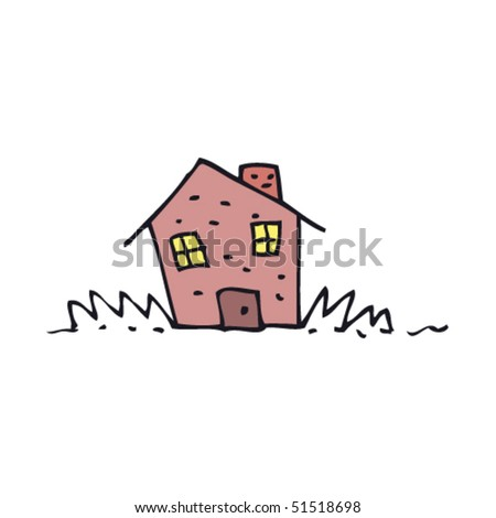 child's drawing of a house - stock vector