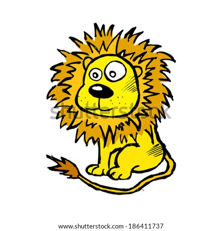 child's drawing of a lion. Vector - stock vector