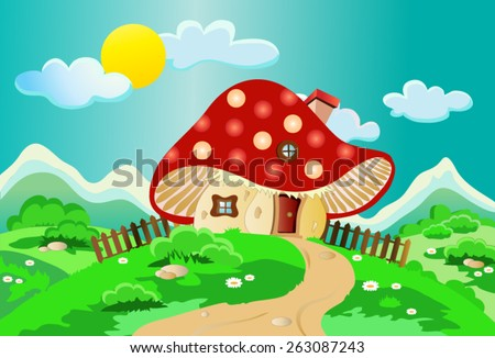 Child's drawing of a mushroom house with a fence, chimney, window, roof and door landscape with shrubs, flowers, clouds and sun, with deep, bright colors, suitable for Wallpaper Mural or picture book. - stock vector