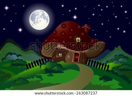 Child's drawing of a mushroom house with a fence, chimney, window, roof and door, night landscape with shrubs, moon and stars, saturated, vivid colors, suitable for Wallpaper Mural or picture book. - stock vector