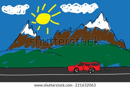 Child's drawing of a red car in the road into the mountains. (EPS10 Vector) - stock vector
