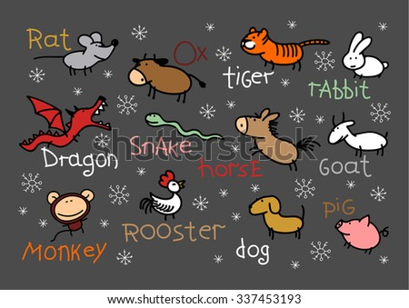 Child's drawing of Chinese Zodiac signs - stock vector