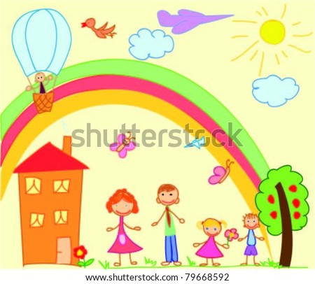 Child's drawing of the family - stock vector