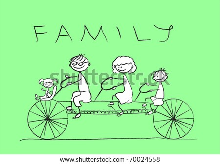 child's drawing of the family on a bicycle, - stock vector