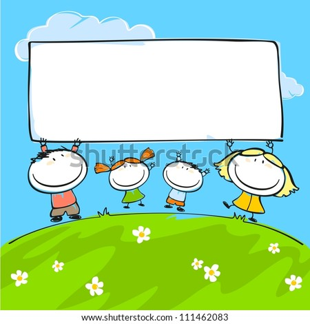 Child's drawing of the happy family with a banner - stock vector