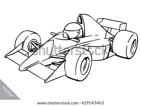 child's funny cartoon formula race car vector illustration art - stock vector