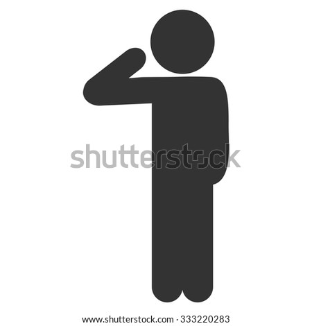 Child Salute vector icon. Style is flat symbol, rounded angles, white background. - stock vector
